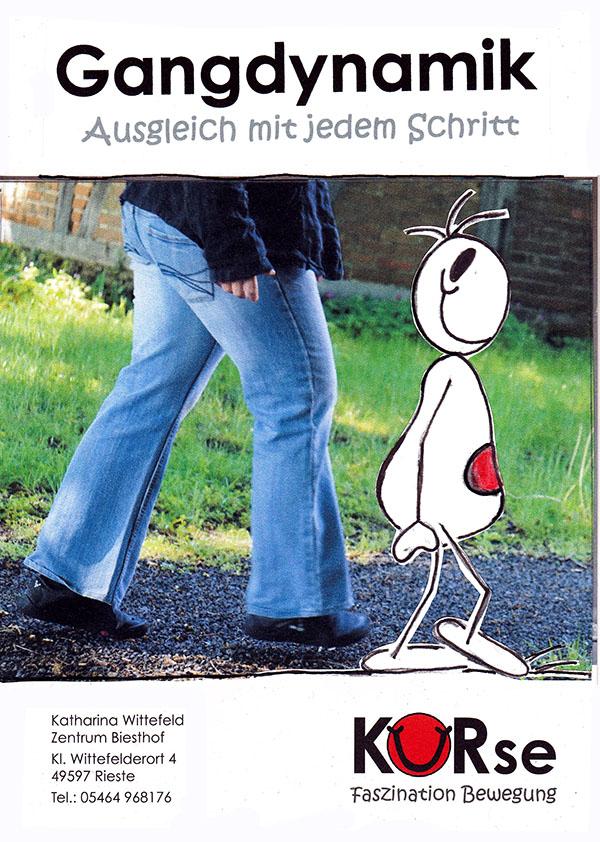 gehender Mensch, gehendes Strrichmännchen auf Plakat für Gangdynamikkurs