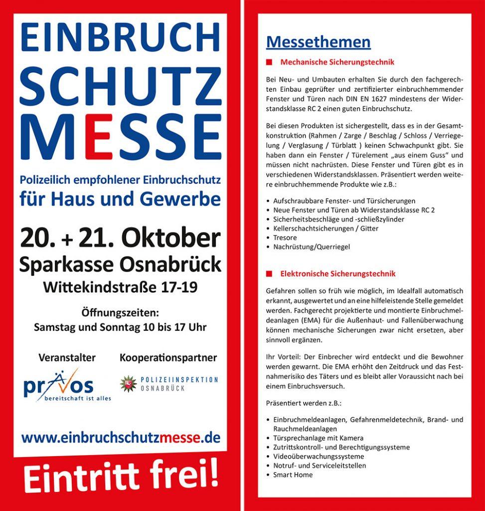 Einbruchschutzmesse, Einladung, 20. + 21. Oktrober 2018, Sparkasse Osnabrück
