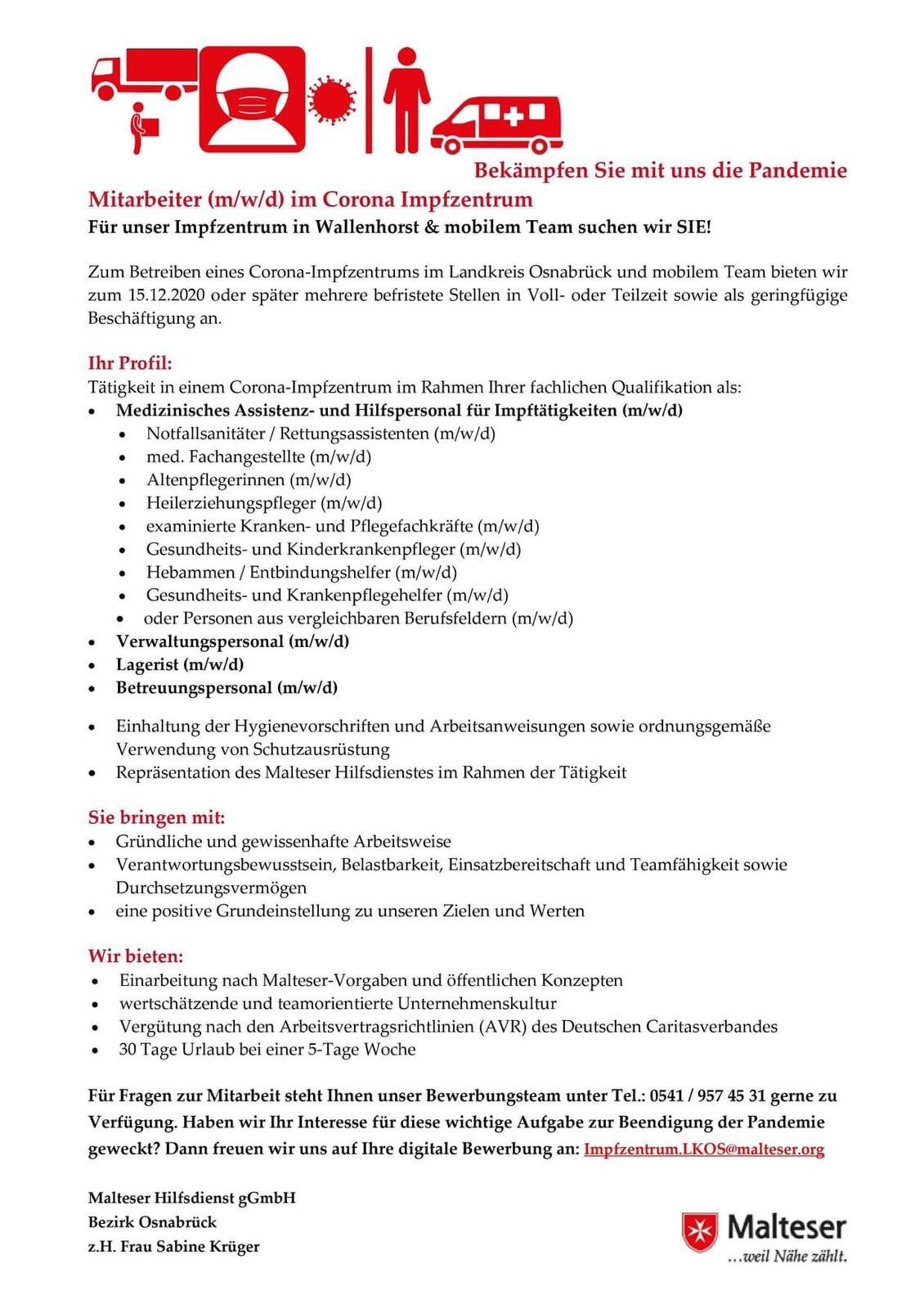 Anzeige Stellengesuche für Corona-Impfzentrum im Landkreis Osnabrück